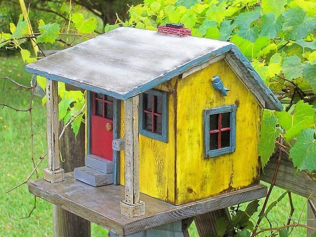ogród diy, domki dla ptaków, dodatki do ogrodu diy